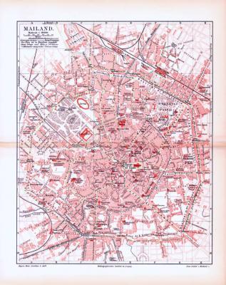 Farbig illustrierter Stadtplan von Mailand aus 1893. Im Maßstab 1 zu 19.000.