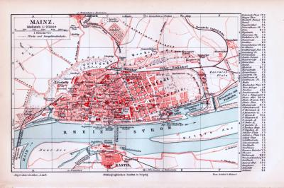 Farbig illustrierter Stadtplan von Mainz aus 1893. Im Maßstab 1 zu 25.000.