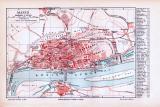 Farbig illustrierter Stadtplan von Mainz aus 1893. Im...