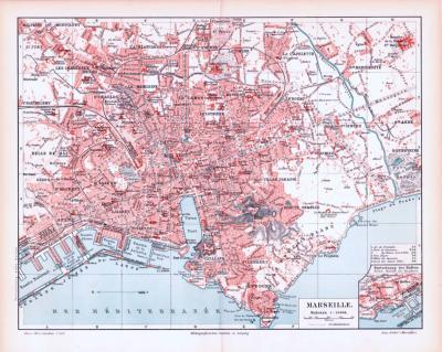 Farbig illustrierter Stadtplan von Marseille aus 1893. Im Maßstab 1 zu 24.000.