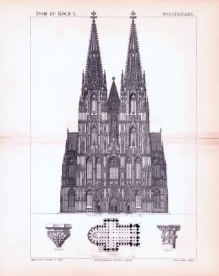 Stich aus 1893 zeigt die Westfassade des Kölner Doms.