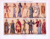 Chromolithographie aus 1893 zeigt verschiedene Arten von Kostümen aus Altertum und Mittelalter.