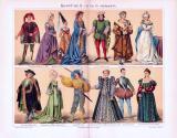Chromolithographie aus 1893 zeigt verschiedene Arten von Kostümen aus 15. und 16. Jahrhundert.