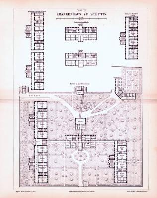 Stich aus 1893 zeigt den architektonischen Aufbau des Krankenhauses von Stettin.