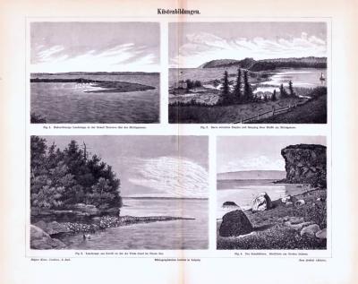 Stich aus 1893 zeigt verschiedene Küstenlandschaften.