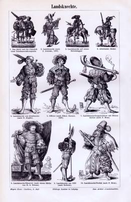 Stich aus 1893 zeigt verschiedene Landsknechte in deren Tracht und Bewaffnung.
