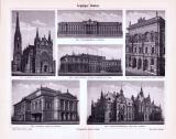 Stich aus 1893 zeigt verschiedene Prachtbauten aus Leipzig.