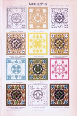 Chromolithographie aus 1893 zeigt die Technik der Lithographie.