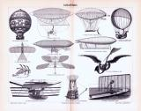 Stich aus 1893 zeigt verschiedene Arten von Luftschiffen.