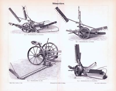 Stich aus 1893 zeigt verschiedene Arten von Mähmaschinen.