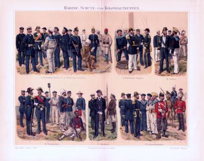 Chromolithographie aus 1893 zeigt Marine-, Schutz-, und Kolonialtruppen verschiedener europäischer Länder in ihren Uniformen.