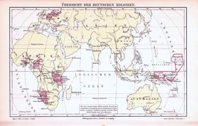 Illustration von 7 Weltkarten aus 1893, zeigt Kolonialgebiete europäischer Länder.
