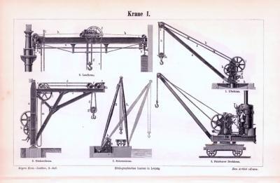 Stich aus 1893 zeigt verschiedene Krane und deren unterschiedliche Details.