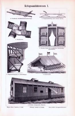 Stich aus 1893 zeigt verschiedene Bauten und Gegenstände aus dem Kriegssanitätswesen..