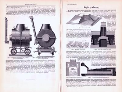 Technische Abhandlung mit Stichen aus 1893 zum Thema Kupfergewinnung.