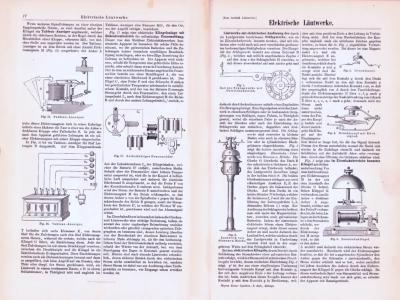 Technische Abhandlung mit Stichen aus 1893 zum Thema elektrische Läutwerke.