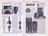 Technische Abhandlung mit Stichen aus 1893 zum Thema Leuchtgasbereitung.