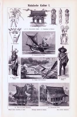 Stich aus 1893 zeigt verschiedene Objekte aus der malaiischen Kultur.