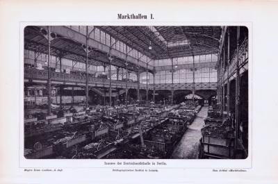Stich aus 1893 zeigt die Zentralmarkthalle in Berlin und architektonische Skizzen.