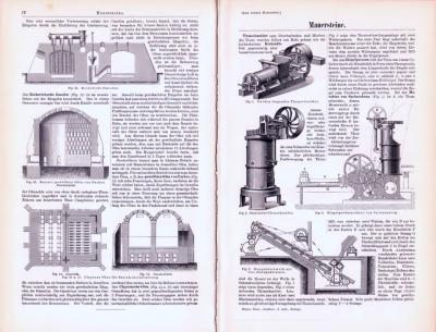 Technische Abhandlung mit Stichen aus 1893 zum Thema Mauersteine.