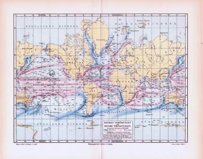 Farbig illustrierte Weltkarte aus 1893 zeigt Meeresströmungen und Meerestiefen im Maßstab 1 : 100.000.000.