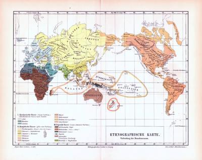 Farbig illustrierte Weltkarte aus 1893 zeigt die ethnologische Verbreitung der Menschen.