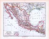 Farbig illustrierte Landkarte von Mexiko aus 1893 im Maßstab 1 : 12.000.000.