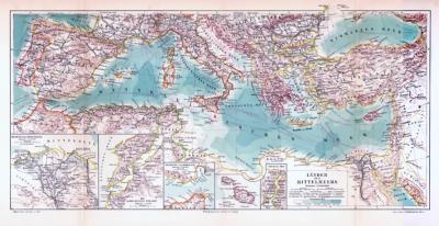 Farbig illustrierte Landkarte von Anrainerstaaten des Mittelmeerraumes aus 1893 im Maßstab 1 : 10.000.000.