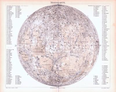 Farbig illustrierte Landkarte des Mondes aus 1893.