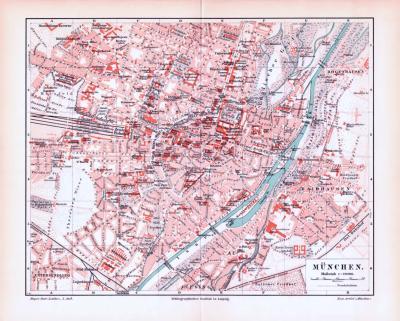 Farbig illustrierter Stadtplan von München aus 1893 im Maßstab von 1 zu 20.000.