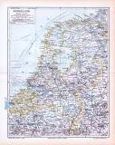 Farbig illustrierte Landkarte der Niederlande aus 1893 im Maßstab 1 : 1.300.000.