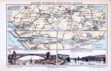 Farbige Illustration aus 1893 zeigt Karten und Brücken des Nord-Ostsee Kanals.