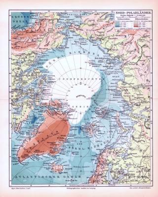Farbig illustrierte Landkarte der Nord Polarländer aus 1893 im Maßstab 1 : 25.000.000.