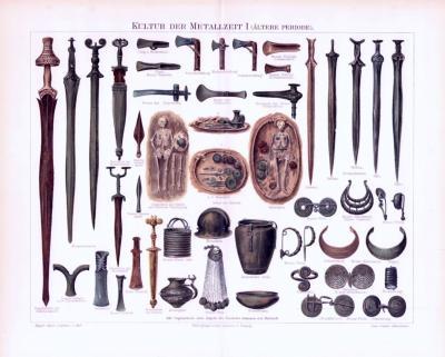 Chromolithographie aus 1893 zeigt Waffen und Kulturobjekte aus der älteren Periode der Metallzeit.