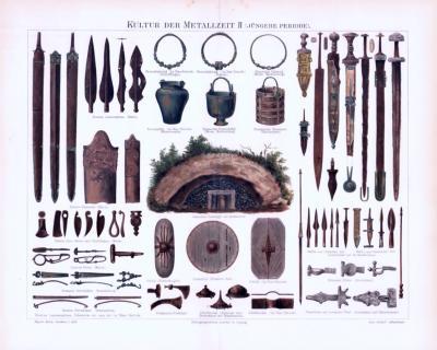 Chromolithographie aus 1893 zeigt Waffen und Kulturobjekte aus der jüngeren Periode der Metallzeit.