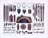 Chromolithographie aus 1893 zeigt Waffen und...