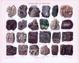 Chromolithographie aus 1893 zeigt Mineralien und...