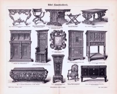 Stich aus 1893 zeigt verschiedene Möbelstücke aus verschiedenen Epochen der Kunsttischlerei.