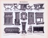 Stich aus 1893 zeigt verschiedene Möbelstücke aus...