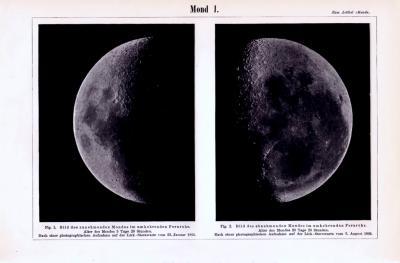 Lithographie aus 1893 zeigt photographische Aufnahmen des Mondes bei zunehmender und abnehmender Mondphase.