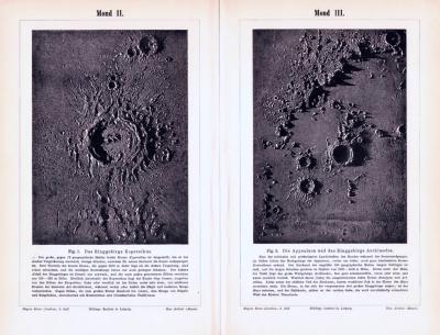 Stich aus 1893 zeigt 2 Ansichten der Mondoberfläche.