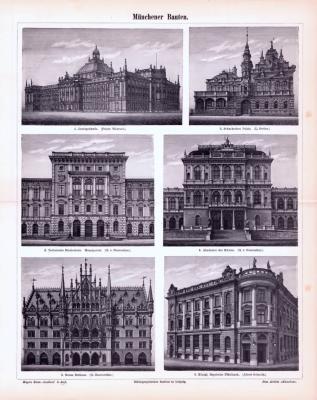 Stich aus 1893 zeigt 6 Münchner Prachtbauten.