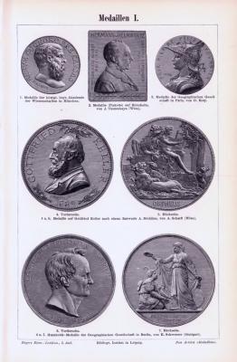 Stich aus 1893 zeigt verschiedene Medaillen.