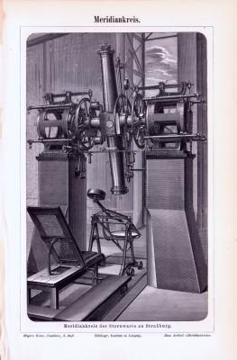 Technische Abhandlung aus 1893  zum Mauerquadranten von Tycho Brahe und Stich des Meridiankreises der Sternwarte Straßburg.