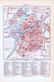 Farbige Lithographie aus 1893 zeigt den Stadtplan und eine Umgebungskarte von Metz.