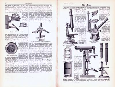 Technische Abhandlung mit Stichen aus 1893 zum Thema Mikroskope.