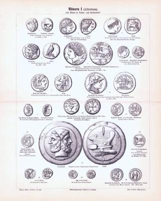 Stich aus 1893 zeigt verschiedene Münzen aus dem Altertum.