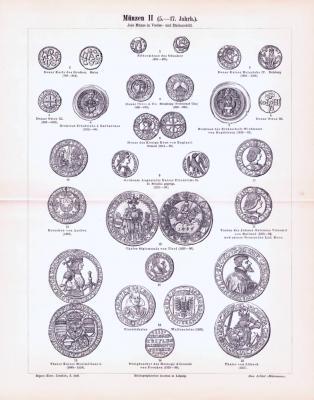 Stich aus 1893 zeigt verschiedene Münzen aus dem Altertum, Technische Abhandlung zum Münzwesen mit Stichen.
