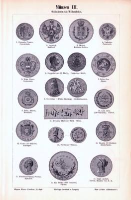Stich aus 1893 zeigt verschiedene Münzen aus dem Altertum, Stich aus 1893 zeigt verschiedene Goldmünzen und Silbermünzen des Weltverkehrs.