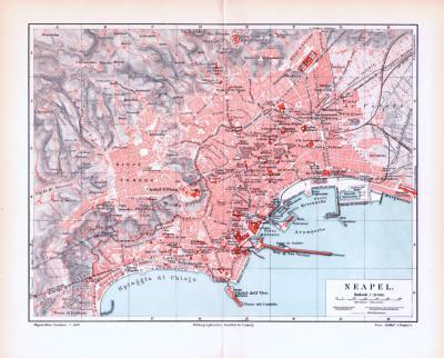 Farbig illustrierter Stadtplan und Landkarte aus 1893 zeigen die Umgebung von Neapel.
